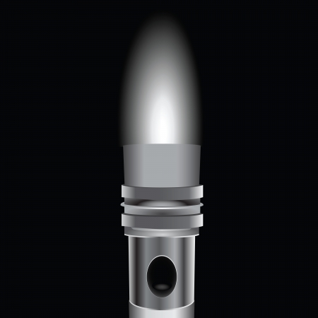 The light from the flashlight in a metal case. Vector illustration.