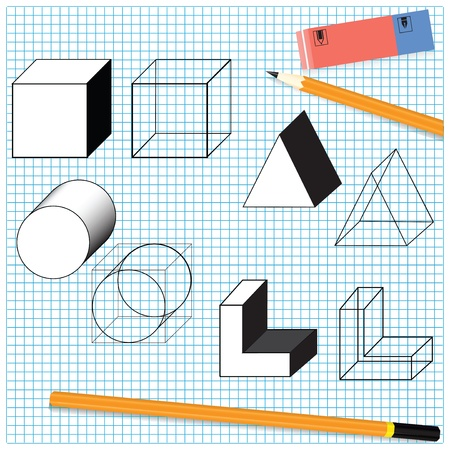 Simple drawing objects with a pencil and eraser. Vector illustration.