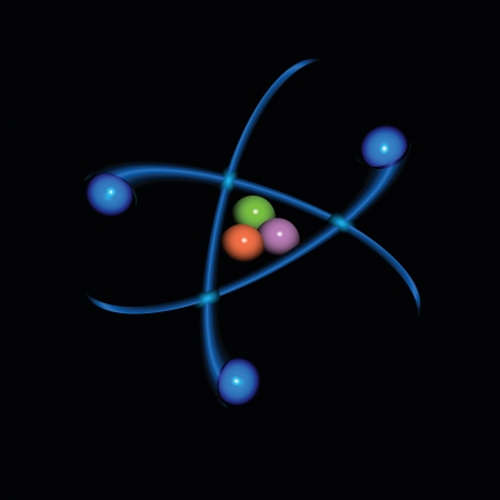 The movement of electrons around the atomic nucleus. Vector illustration.