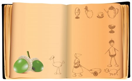 An old book with crafts from an acorn. Vector illustration. Illustration