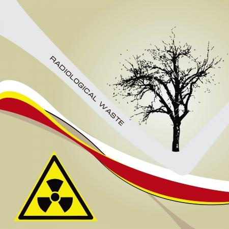 radioactive symbol: Antecedentes de residuos radiaci�n con un s�mbolo radiactivos de ilustraci�n peligro vector