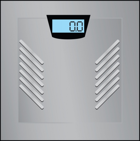 weight control: Floor scales with digital display for weight control  Vector illustration