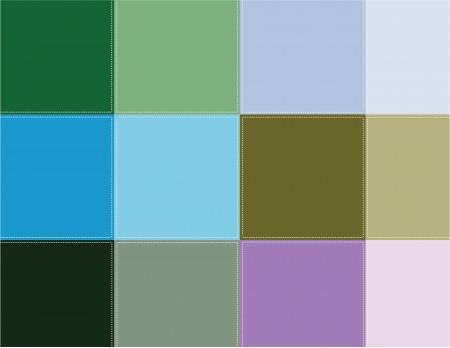 scenical: Decorative background  Vector illustration  Colored squares are stitched with thread