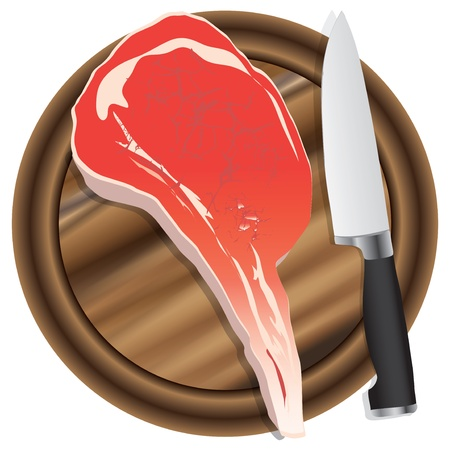 A fresh piece of meat on a kitchen cutting board  Vector illustration