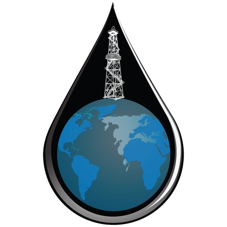 At the drop of oil globe with oil derrick  Vector illustration