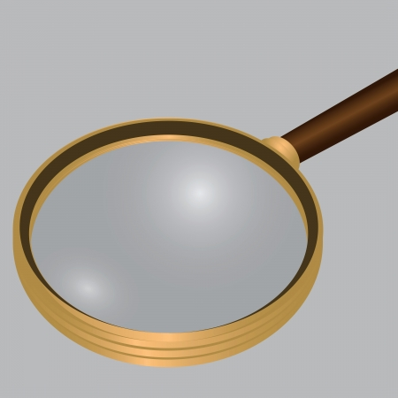 Antique magnifying glass in a frame of yellow materialla. Vector illustration.