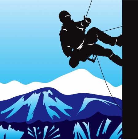 Climber in the mountains rising on the slope. Vector illustration. Ilustração