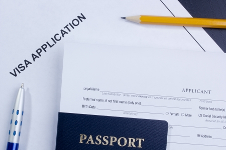 overseas visa: Directly above photograph of an application for a visa. Stock Photo