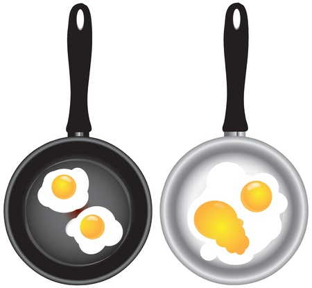 Scrambled eggs in a frying pan in two versions.