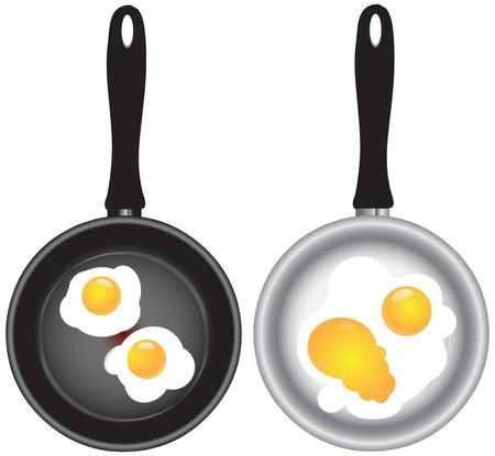 frying pan: Scrambled eggs in a frying pan in two versions.