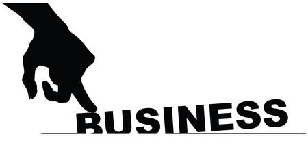 Symbol bad businesses. Hand pressing business.  Illustration