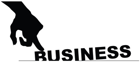 poorly: Symbol bad businesses. Hand pressing business.  Illustration