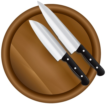 implements: Two kitchen knives on a round cutting board. Illustration