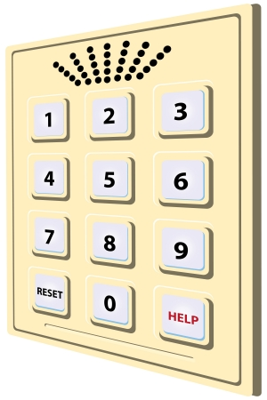 Scutellum with numbers from 1 to 0 and the possibility of voice communication  Vector illustration