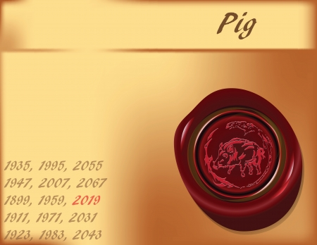 Symbol, the pigs on the eastern calendar  Illustration