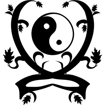 taijitu: Vintage Ornament Yin and Yang   illustration
