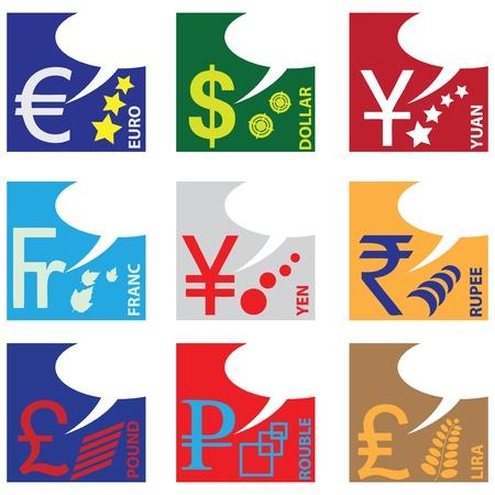 Monetary symbols of major world currencies.