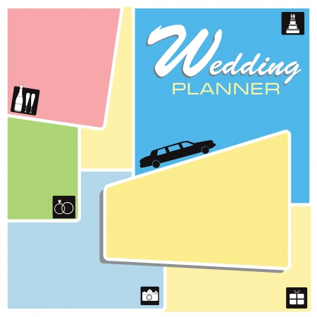 Screensaver Wedding Planner with wedding icons.  Vector