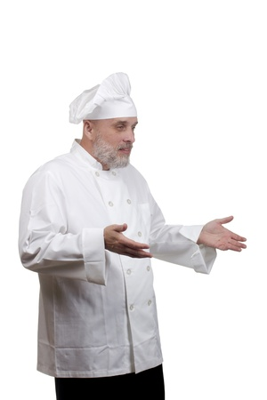 Portrait of a caucasian chef in his uniform on a white background. Stock Photo - 14838654