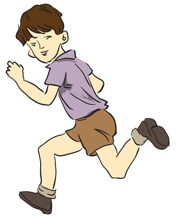 Picture a child running in shorts.