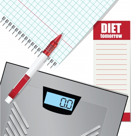 weigher: List of events for weight loss, electronic scales, pen, notepad.