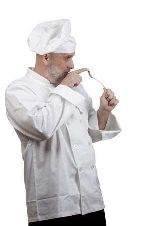 Portrait of a caucasian chef in his uniform on a white background. Stock Photo - 14904221