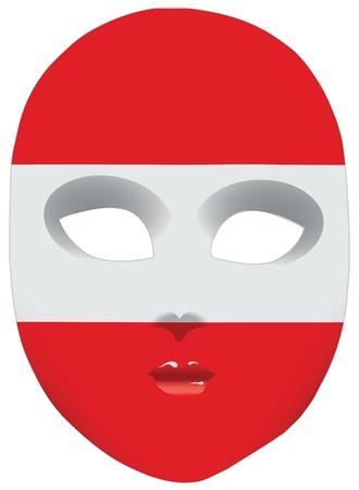 statehood: Classic mask with symbols of statehood of Austria.  Illustration