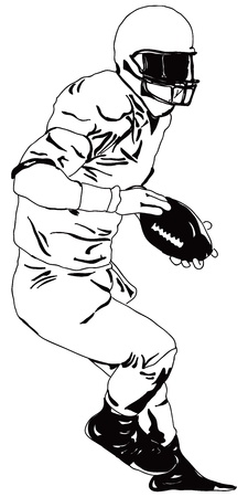American football player with the ball. Ilustracja