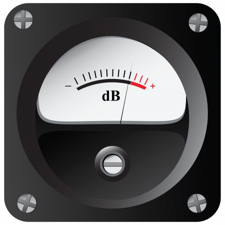 decibels: A device for measuring the sound intensity in decibels.
