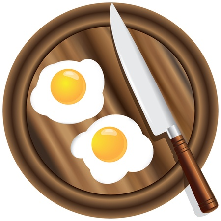 Scrambled eggs with two yolks with a wooden kitchen board with a kitchen knife.