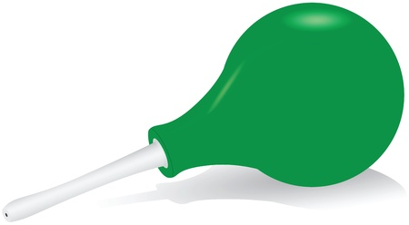 The green rubber enema with a plastic tip. Vector illustration. Ilustração