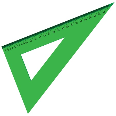 The plastic triangular ruler to measure. Иллюстрация