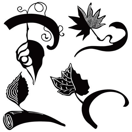 scenical: Vintage decorative leaves for decoration works. Illustration