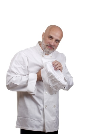 Portrait of a caucasian chef in his uniform on a white background. Stock Photo - 14918989