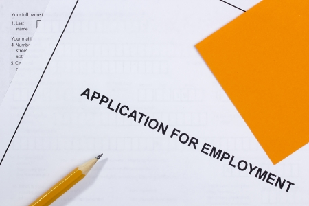 directly: Directly above photograph of a job application.