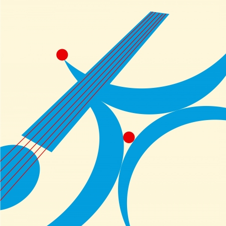 quadrant: Abstract pattern with a guitar. Music. Vector illustration.
