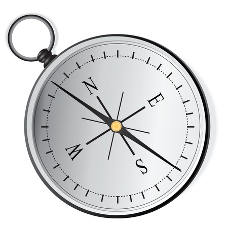 The navigation device - a compass to determine the cardinal directions. Stock Vector - 14988574