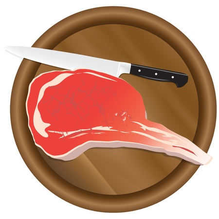 A fresh piece of meat on a kitchen cutting board. Stock Vector - 14988577