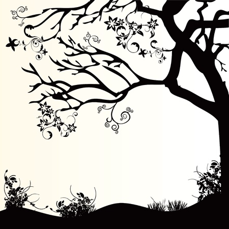 scenical: Decorative design of nature, trees and grass.  Illustration
