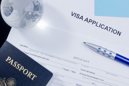 Directly above photograph of an application for a visa. Stock fotó