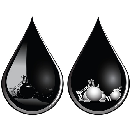 At the drop of oil affects the oil storage Stock Vector - 15039599