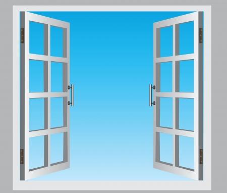 De open openslaande ramen, de blauwe lucht
