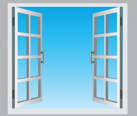 interior window: The open casement windows, the blue sky