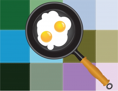 Frying pan with fried eggs on the background of the kitchen towel