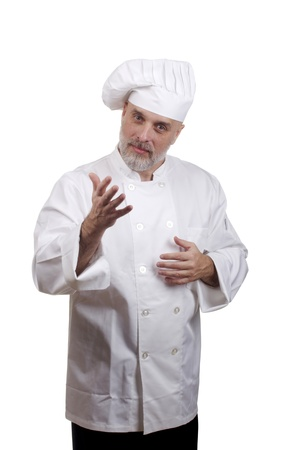 Portrait of a caucasian chef in his uniform on a white background. Stock Photo - 15039614
