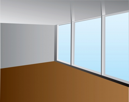 Empty room with a large window illustration.