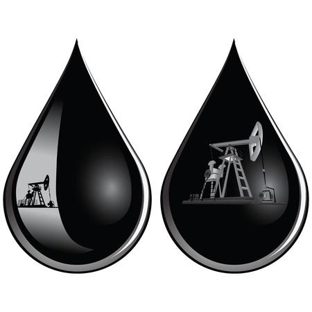 нефтяной: Нефтедобывающие насосов в каплю масла иллюстрации. Иллюстрация
