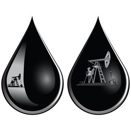 Oil-producing pumps in a drop of oil illustration.