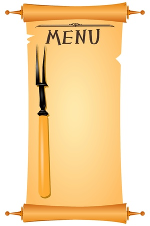 antiquities: Parchment for restaurant menu with a fork illustration