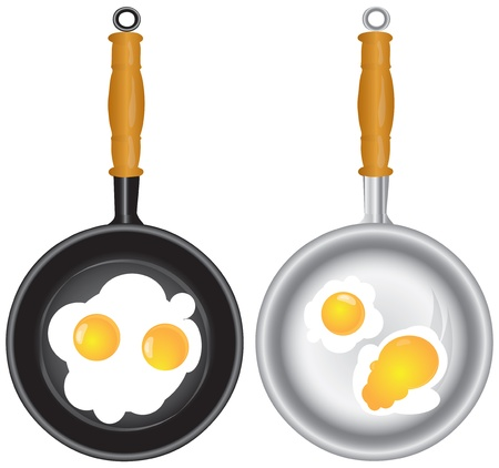 scrambled: Scrambled eggs in a frying pan in two ways illustration. Illustration